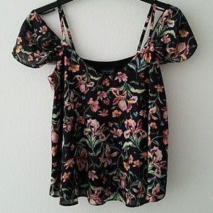 Topshop Floral Cold-Shoulder Top